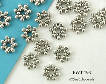 7mm Pewter Star Rondelle Beads, Antiqued Silver (PWT 193) 36 pcs BlueEchoBeads