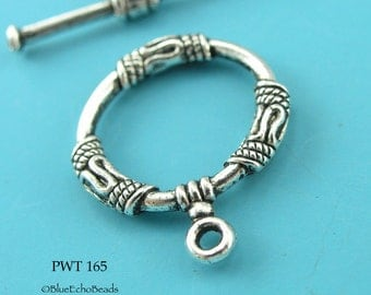 18mm Decorative Toggle Clasp Pewter Antiqued Silver (PWT 165) 4 sets BlueEchoBeads