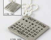 Two Calendars in One - Mark Your Calendar Necklace - personalized sterling silver necklace