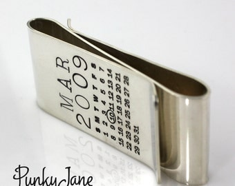 One Calendar/One Message Double Mark Your Calendar Money Clip - personalized sterling silver double money clip