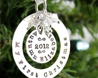 My First Christmas hand stamped and personalized sterling silver ornament - design for longer names