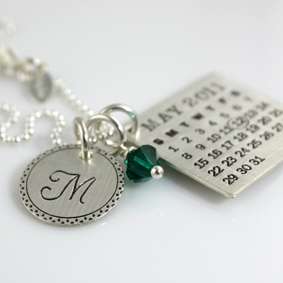 Personalized Calendar Necklace - hand stamped Mark Your Calendar sterling silver necklace with Fancy Bordered Initial Charm and Crystal