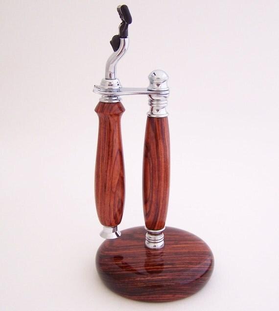 Cocobolo Wood Mach 3 Razor Shaving Handle and Roundbase Wood Stand (Handmade in USA)