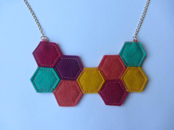Geometric Felt Necklace / Hexagon Necklace