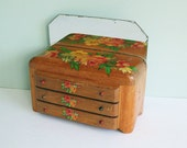 1950s Miniature Oak Doll Dresser with a Mirror and Flower Decals
