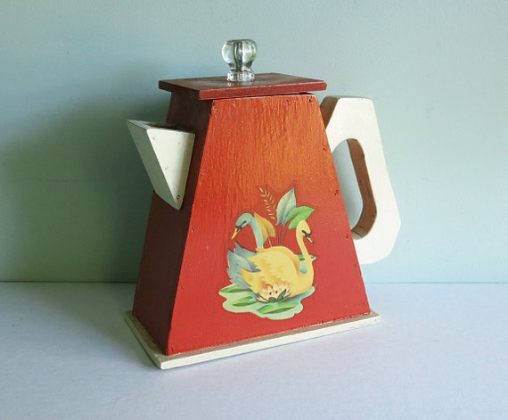 Rare Wooden Soap Powder Dispenser, Handmade with Swan Decals