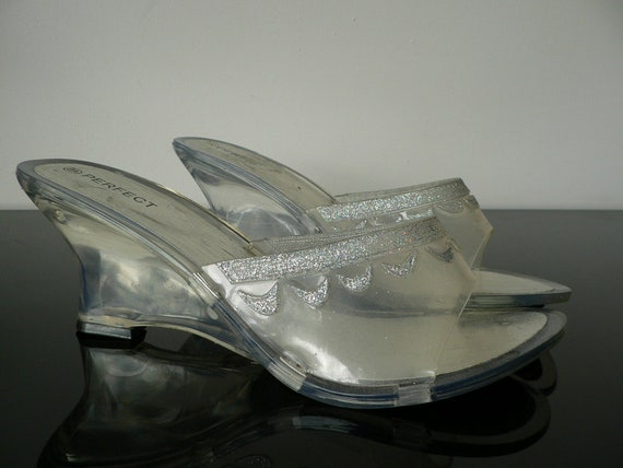Vintage Clear Lucite Wedge Heels Crystal Clear Shoes