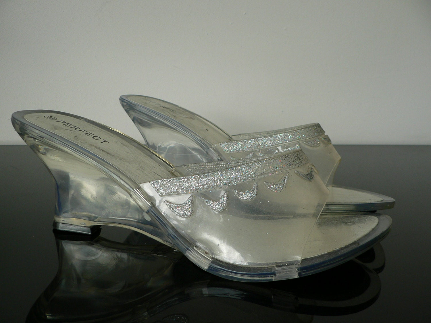 vintage clear lucite wedge heels clear by