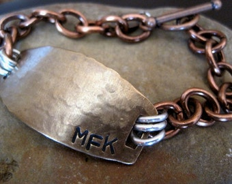 Mens Personalized Bracelet - Custom stamped message inside and out - Copper Chain - Brass