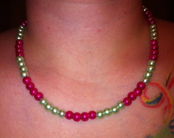 Pearl necklace hot pink and apple green