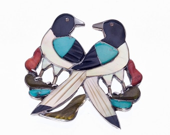 Zuni Inlay Pin - Songbirds Brooch - Pawn Piece - Jack Mahkee