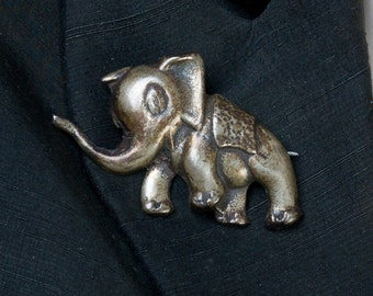 Antique Sterling Elephant Pin - Victorian Cast Brooch - 38g - Best Buy