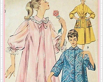 Simplicity 4972 Duster Negligee Lingerie Vintage 60s Sewing Pattern Misses Size 12 Bust 30