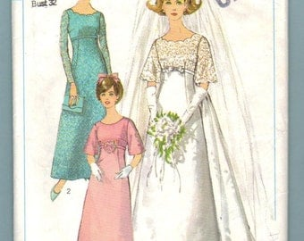 Simplicity 6825 Wedding Dress Formal Bridesmaids Dress Vintage 60s Sewing Pattern Cut No Instruction Sheet Size 12 Bust 32