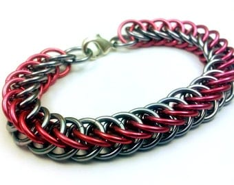 Pink and Grey Anodized Aluminum Half Persian 4in1 Bracelet