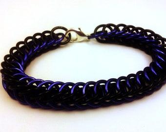 Purple and Black Anodized Aluminum Half Persian 4in1 Bracelet