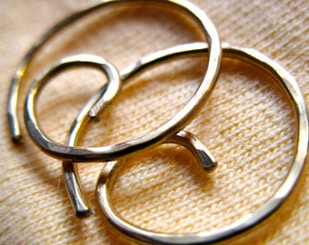 Free Shipping. Small Hoop Earring. THINNIER. Spiral Swirl Hoops. Hammered surface. 20 gauge solid  brass wire