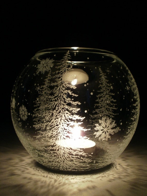 Fir Trees And Floating Flakes Glass Globe Candle Holder