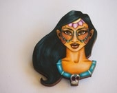 Day of the Dead Pocahontas Laser Cut Wood Brooch