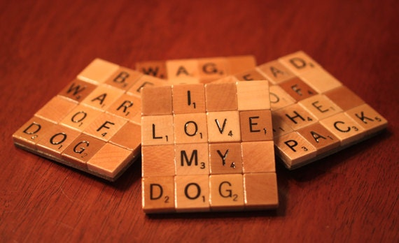 Scrabble Coasters with Recycled Wood Scrabble Tiles And Sturdy Game Board Backing Set Of Four  MANS BEST FRIEND