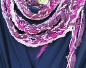 Crochet scarf: women's long silk knit multicolor skinny fashion scarflette, purple pink cotton silk, bohemian Zhangye Mother's Day i793
