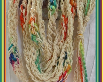 Crochet scarf necklace, multicolor women's long knit fashion, white purple green teal red orange yellow pink cotton skinny scarflette i814