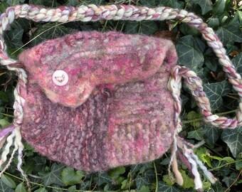 Bunny Purse felted wool medium handbag, pink mauve rose purple Bohemian bag, freeform knit by dj runnels, ceramic button wedding i843