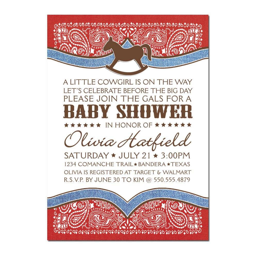 Baby Shower Cowboy Theme: Cowboy / Cowgirl Bandana Baby Shower PRINTABLE PDF ONLY