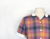 1950s Blouse / Vintage Plaid Shirt / 50s Blouse / L XL / Sunset Plaid