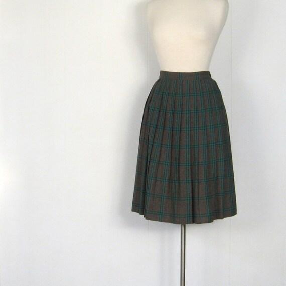 Vintage Plaid Skirt / 1950s Full Skirt / 50s Skirt / Chocolate Mint / 25W XS
