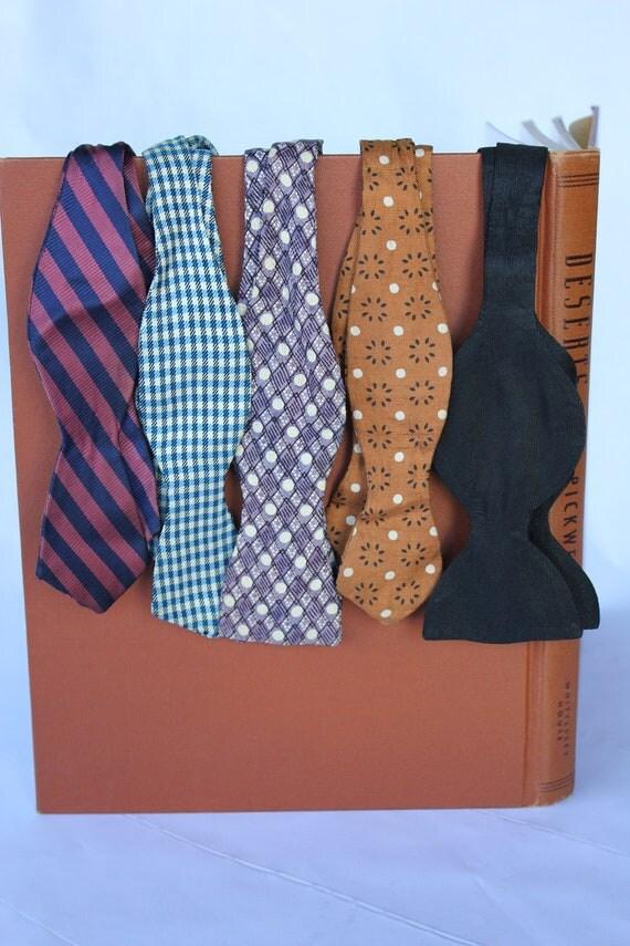 Lot of 5 40s 50s atomic era silk bow ties