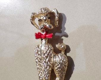 Vintage Gold Poodle Brooch red bow