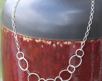 Silver Hoop Necklace Fine Sterling Silver, Hand Forged Metal Jewelry