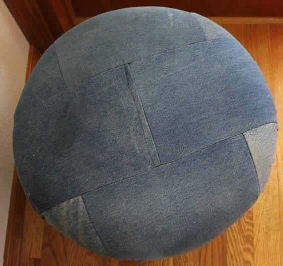 Vintage Mushroom Foot Stool Footstool Ottoman Blue Denim Jean