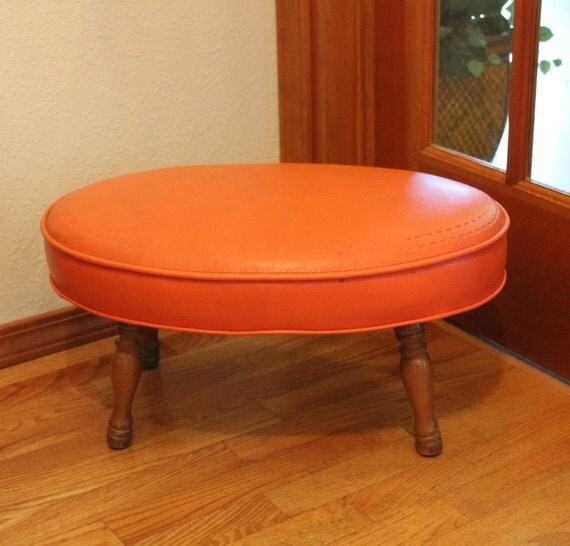 Vintage Orange Footstool Ottoman Small Oval by That70sShoppe : il570xN370280210tfwu from www.etsy.com size 570 x 546 jpeg 60kB