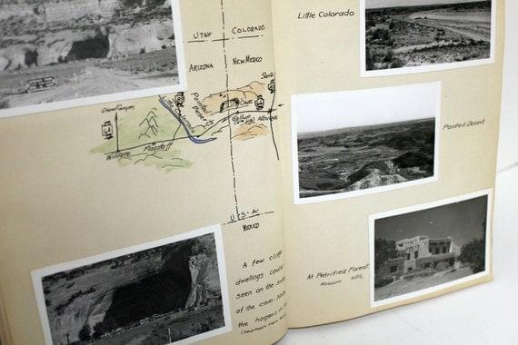 Vintage 1950s Photo Album Story Black White Road Trip 7 States Texas to Washington State
