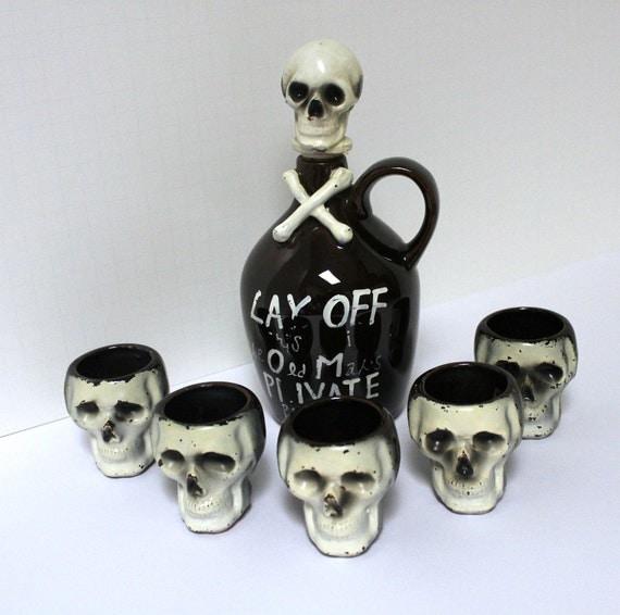 Vintage Skull Poison Decanter and 5 Shot Glasses Cross Bones Halloween Gothic