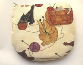 Cats and Wool Handmade Zippered Coin Purse  Horseshoe Shaped