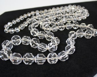 Vintage Crystal Necklace Clear Faceted Cut Bead Graduated