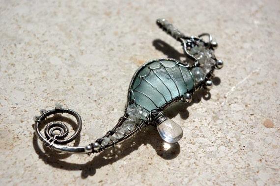 AQUA SILVER seahorse wire wrapped seaglass pendant.