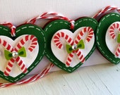 Sweet Christmas Embellishments - Candy Cane Heart Tags -