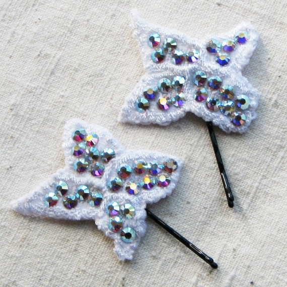 Sparkly white bobby pins with crystal AB Swarovski rhinestones for bridal hair, flat butterfly flower shape, set of 2