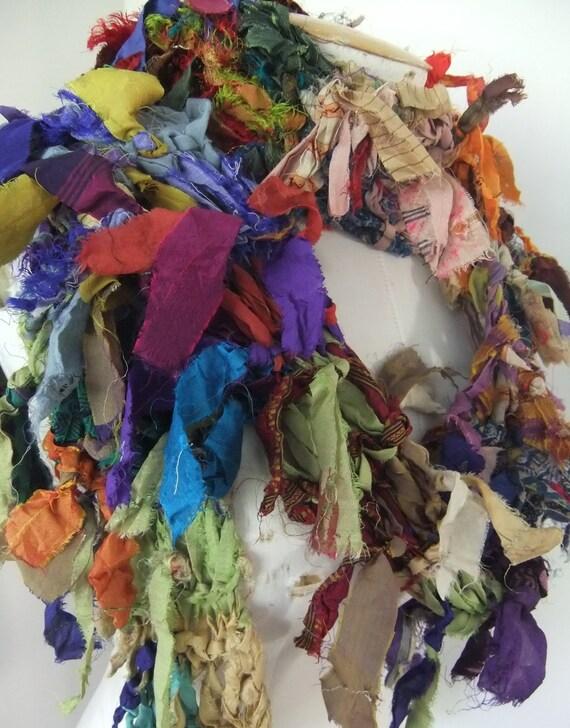 Distressed Raggy Earthy Organic Multicolor Recycled Sari Silk Scarf Handknit
