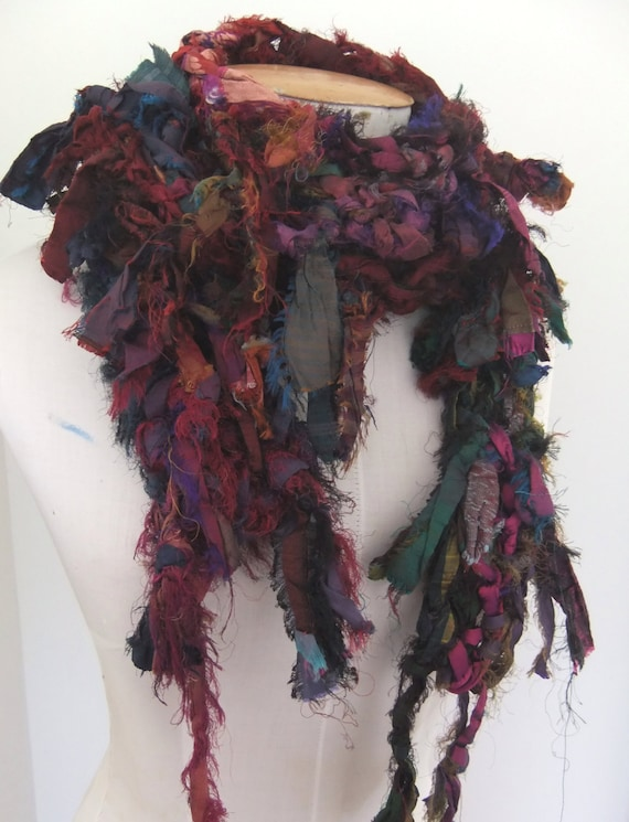 RESERVED FOR KATHI Distressed Earthy Organic Recycled Silk Skinny Scarf