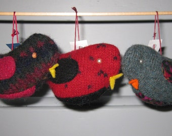 Bird Ornaments made from Sweater Scraps - Set of 3