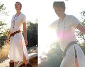 Vintage 70s Summer White Embroidered Ethnic India Boho Tunic Dress