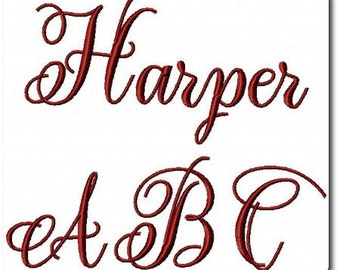 Harper Machine Embroidery Font includes 3 sizes