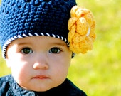 12 to 24 Months  ... TAYLOR Girls Crocheted Beanie  ...  Navy-Yellow-White  ...  Ready-to-Ship