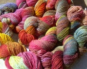 Red Fall Hand Painted Merino Mohair Yarn, 1 Large Skein