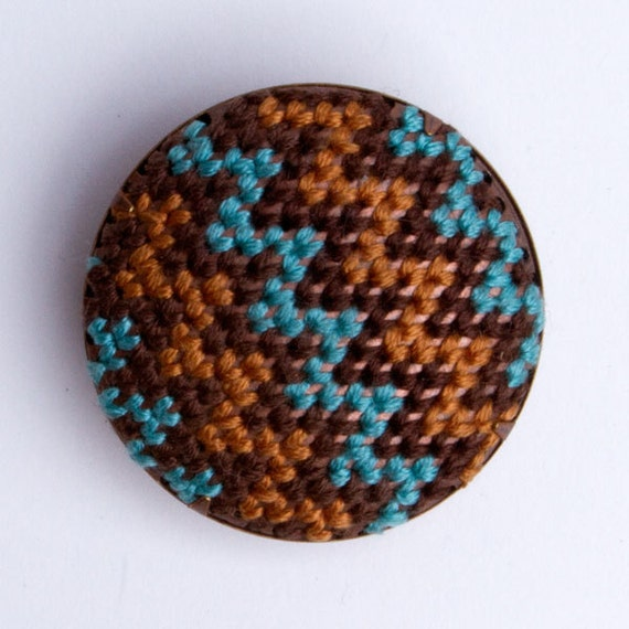 Tribal Brooch (Aquamarine,gold, brown, chevron)